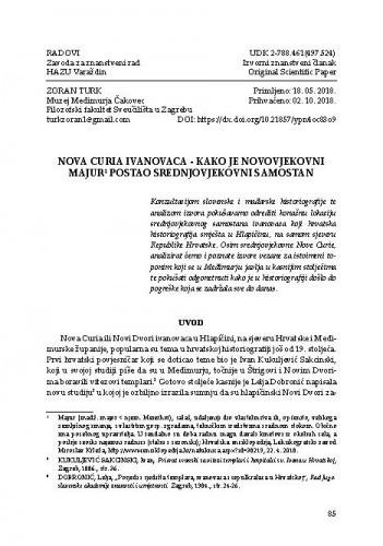 Nova Curia Ivanovaca – kako je novovjekovni majur postao srednjovjekovni samostan / Zoran Turk