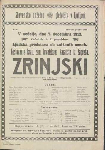 Nikola Šubić-Zrinski : Glazbena slika u tri čina (osam slika)