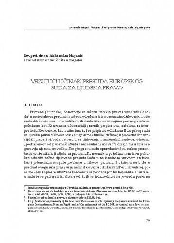 Vezujući učinak presuda Europskog suda za ljudska prava : [uvodno izlaganje] / Aleksandra Maganić