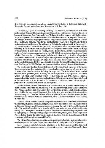 Esad Kurtović, Iz povijesti dubrovačkoga zaleđa [From the History of Dubrovnik Hinterland]. Dubrovnik: Ogranak Matice hrvatske u Dubrovniku, 2018 : [prikaz]