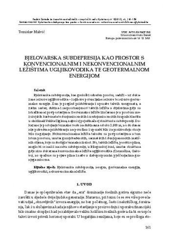 Bjelovarska subdepresija kao prostor s konvencionalnim i nekonvencionalnim ležištima ugljikovodika te geotermalnom energijom