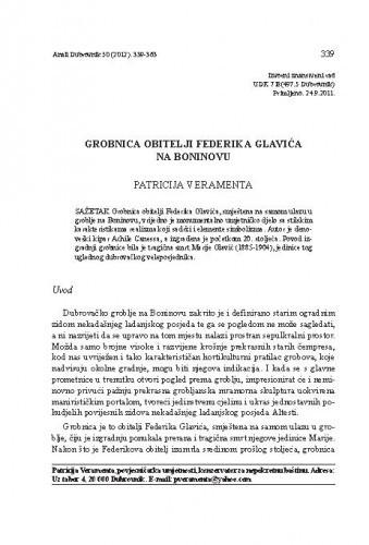 Grobnica obitelji Federika Glavića na Boninovu / Patricija Veramenta