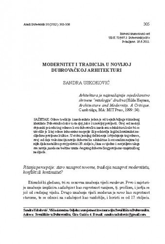 Modernitet i tradicija u novijoj dubrovačkoj arhitekturi / Sandra Uskoković