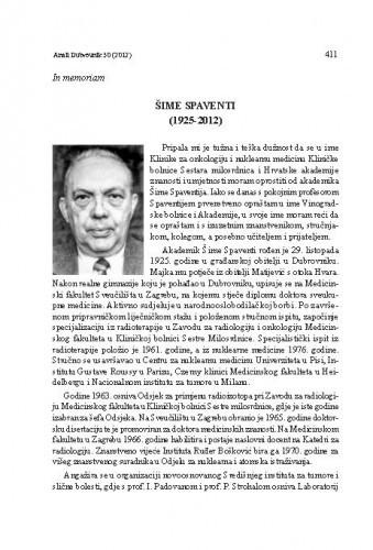Šime Spaventi (1925-2012) : in memoriam / Zvonko Kusić