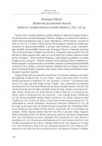 Domagoj Vidović: Metkovski prezimenski mozaik, Metković: Gradsko kulturno središte Metković, 2014. : [prikaz] / Ivana Kurtović Budja