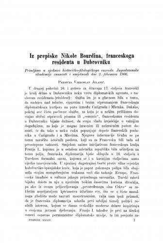 Iz prepiske Nikole Bourdina, franceskoga residenta u Dubrovniku / Vladimir Jelavić