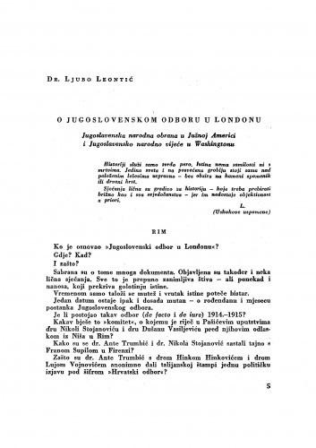 O Jugoslavenskom odboru u Londonu : Jugoslavenska narodna obrana u Južnoj Americi i Jugoslavensko narodno vijeće u Washingtonu / Ljubo Leontić