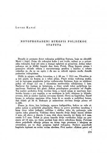 Novopronađeni rukopis poljičkog Statuta / Lovre Katić