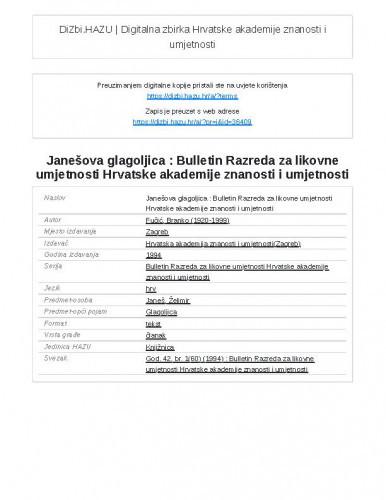 Janešova glagoljica : Bulletin Razreda za likovne umjetnosti Hrvatske akademije znanosti i umjetnosti