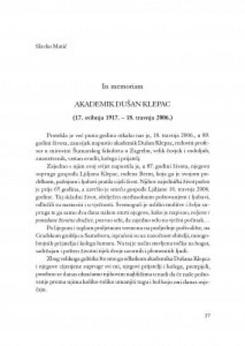 Akademik Dušan Klepac : (17. svibnja 1917.-18. travnja 2006.) / Slavko Matić
