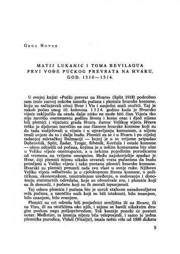 Matij Lukanić i Toma Bevilaqua prvi vođe pučkog prevrata na Hvaru, god. 1510-1514. / Grga Novak