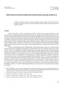 Prosvjetno-pedagoški rad profesora Franje Košćeca / Siniša Horvat
