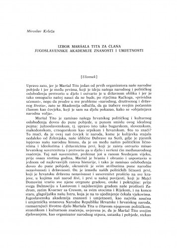 Izbor Maršala Tita za člana Jugoslavenske akademije znanosti i umjetnosti (Ulomak) / M. Krleža