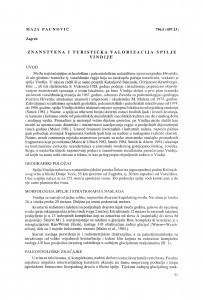 Znanstvena i turistička valorizacija spilje Vindije / Maja Paunović