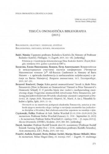 Tekuća onomastička bibliografija  (2019.) / Joža Horvat