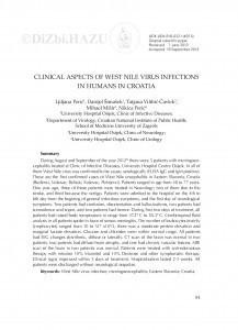 Clinical aspects of West Nile virus infections in humans in Croatia / Ljiljana Perić, Danijel Šimašek, Tatjana Vilibić-Čavlek, Mihael Mišir, Nikica Perić