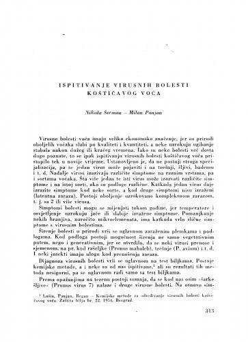 Ispitivanje virusnih bolesti koštićavog voća / N. Šerman i M. Panjan