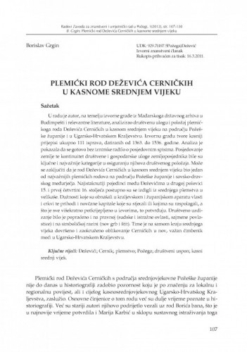 Plemićki rod Deževića Cerničkih u kasnome srednjem vijeku / Borislav Grgin