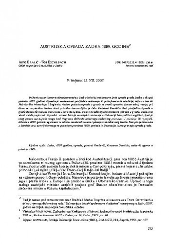Austrijska opsada Zadra 1809. godine / Ante Bralić, Tea Eschebach