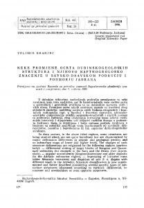 Neke promjene ocrta dubinskogeoloških struktura i njihovo naftnogeološko značenje u Savsko-Dravskom području i podmorju Jadrana / V. Kranjec