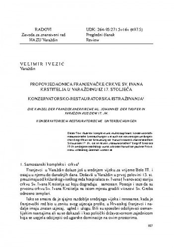 Propovjedaonica franjevačke crkve Sv. Ivana Krstitelja u Varaždinu iz 17. stoljeća : konzervatorsko-restauratorska istraživanja / Velimir Ivezić