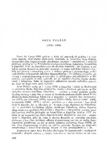 Ante Polšak (1930-1990) : [nekrolozi] / V. Kranjec, I. Gušić