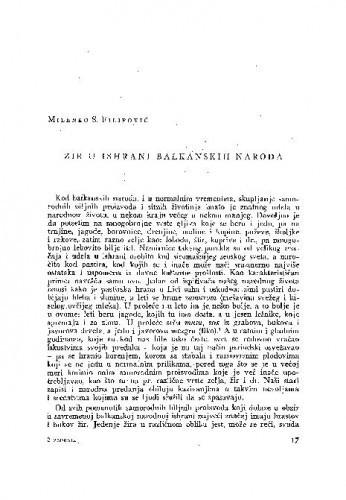 Žir u ishrani balkanskih naroda / S. M. Filipović