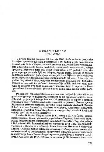 Dušan Klepac (1917.-2006.) : [nekrolog] / Slavko Matić