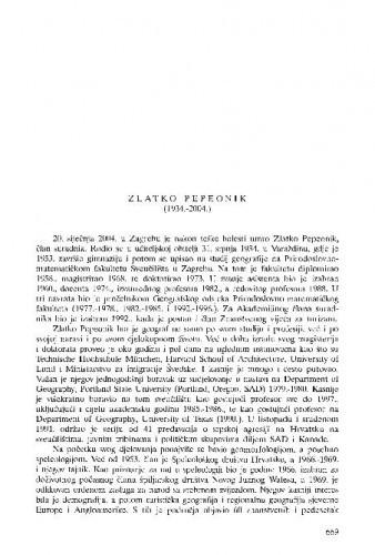 Zlatko Pepeonik (1934.-2004.) : [nekrolog] / Željko Kućan