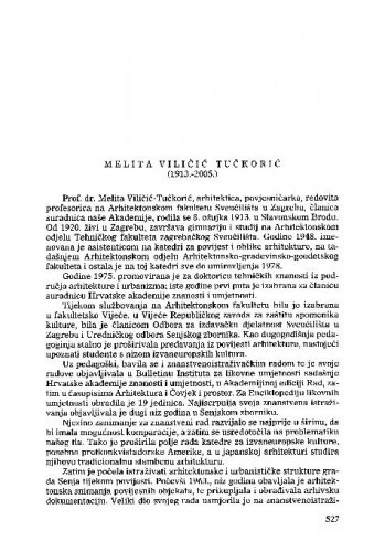 Melita Viličić-Tučkorić (1913.-2005.) : [nekrolog] / Ante Vulin