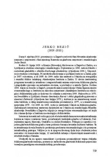 Jerko Bezić (1929.-2010.) : [nekrolog] / Koraljka Kos