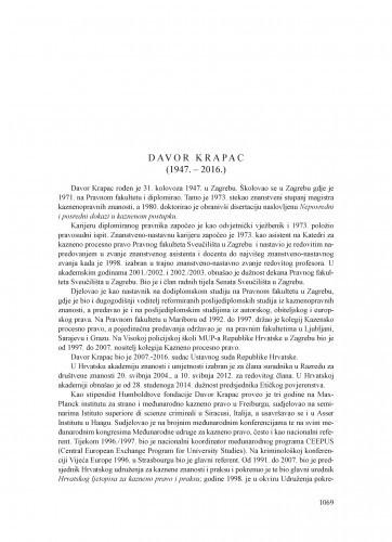 Davor Krapac (1947.-2016.) : [nekrolog] / Jakša Barbić
