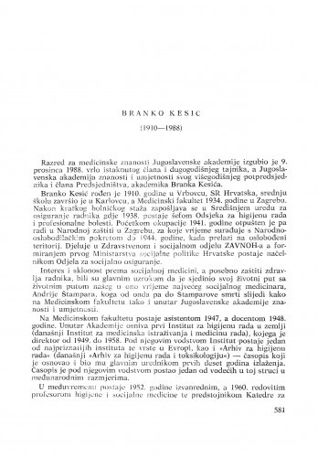 Branko Kesić (1910-1988) : [nekrolozi] / Fedor Valić