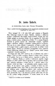 Dr. Janko Šafarik : (nekrolog) / S. Novaković
