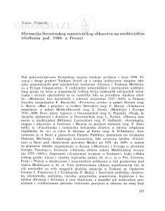 Afirmacija firentinskog manirističkog slikarstva na medičejskim izložbama god. 1980. u Firenzi / Kruno Prijatelj