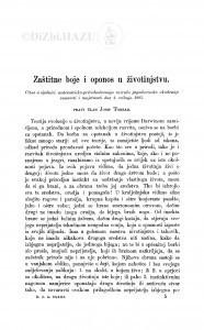 Zaštitne boje i oponos u životinjstvu / J. Torbar