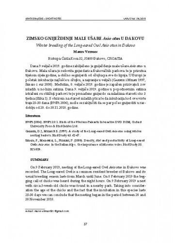 Zimsko gniježđenje male ušare Asio otus u Đakovu : [kratka bilješka = short note] / Marin Vitman