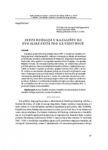 Sveta Rožalija u kazalištu ili evo slike svita tko ga vidit hoće / Sanja Nikčević