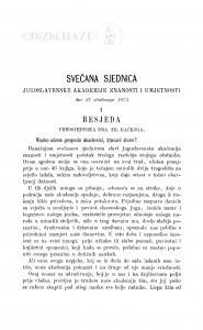 Svečana sjednica Jugoslavenske akademije znanosti i umjetnosti dne 27. studenoga 1873. : (1. Besjeda predsjednika; 2. Izvještaj privr. tajnika)