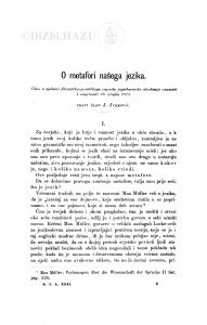 O metafori našeg jezika / J. Jurković