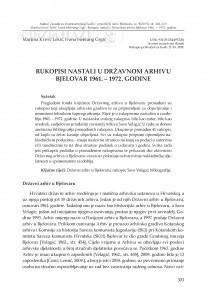 Rukopisi nastali u Državnom arhivu Bjelovar 1961. - 1972. godine / Martina Krivić Lekić, Ivana Hebrang Grgić