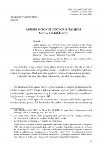 Pariški mirovni ugovor s Italijom od 10. veljače 1947. / Vladimir Ibler