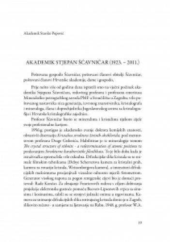 Akademik Stjepan Šćavničar : (1923.-2011.) / Stanko Popović