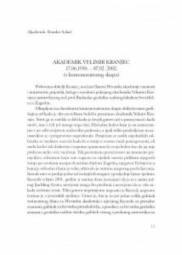 Akademik Velimir Kranjec : 17.06.1930.-07.02.2002. : [govor sa komemorativnog skupa održanog 7. veljače 2003. u palači HAZU]