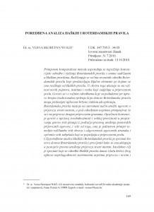 Poredbena analiza Haških i Roterdamskih pravila / Vesna Skorupan Wolff