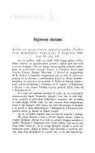 Arkiv za povjestnicu jugoslavensku. Uredio Ivan Kukuljević Sakcinski. U Zagrebu 1868., knj. IX : [književna obznana] / F. Rački