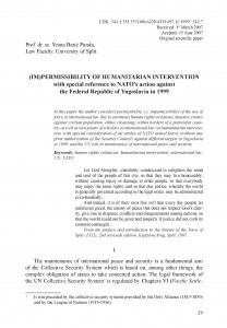 (Im)permissibility of humanitarian intervention with special reference to NATO's action against the Federal Republic of Yugoslavia in 1999 / Vesna Barić Punda