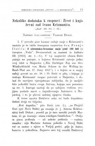 Život i književni rad Ivana Krizmanića : nekoliko dodataka k raspravi / V. Dukat