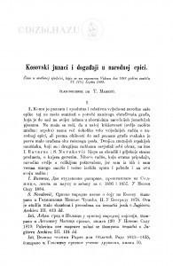 Kosovski junaci i događaji u narodnoj epici / T. Maretić