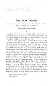 Stay prema Lukreciju / M. Šrepel
